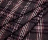 グレー地ピンクや赤系タータンチェック・薄手のウール/ポリエステル混先染めサマーウール(平織り)生地