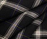 黒地xオフホワイト細い青&黄色ライン・タータンチェック・薄手のウール/ポリエステル混先染めサマーウール(平織り)生地