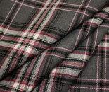 グレー地ピンクのラインが可愛いタータンチェックウール/ポリエステル混ツイル生地W巾150cmやや薄手布布地服地通販チェックウール生地チェック柄