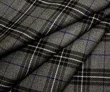 グレー地ブラックxオフホワイトx青ラインタータンチェックウール/ポリエステル混ツイル生地W巾150cmやや薄手布布地服地通販チェックウール生地チェック柄