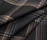 黒地にグレー&マルチカラーラインタータンチェックウール/ポリエステル混ツイル生地W巾150cmやや薄手布布地服地通販チェックウール生地チェック柄