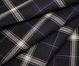 黒地xオフホワイト細い青&黄色ライン・タータンチェック・ウール/ポリエステル混先染めツイル(綾織り)生地