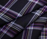 ウール/ポリエステル混ダークネイビー地に薄水色とマルチカラーラインのタータンチェック平織り