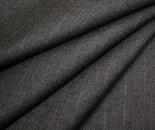グレー地にうっすら水色と青のストライプ(縦縞)日本製ウールポリエステル混ツイル生地防縮加工W巾150cm布布地服地通販ウール生地