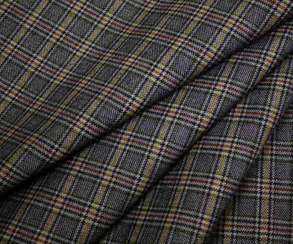 グレー地にマスタードイエローラインがアクセント 小さめグレンチェック調生地 日本製先染めウール ポリエステル混ツイル W巾150cm 布 布地 服地 通販 チェック ウール生地 50cm以上10cm単位 チェック柄 綾織り