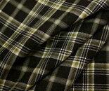 ウールポリエステル混チャコール地に草色グリーン系のタータンチェック平織り生地布布地服地チェック柄