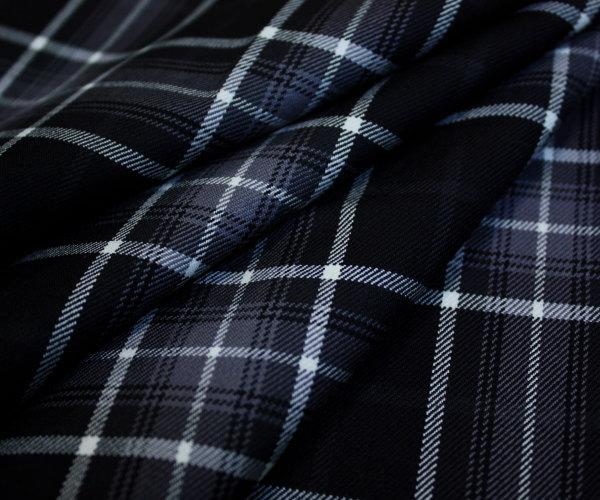 再入荷!白 黒 グレーでまとめたタータンチェック綾織り(ツイル) 日本製上質ウール ポリエステル混先染め W巾150cm 防縮加工 布 生地 布地 服地 通販 ウール チェック ウール生地 50cm以上10cm単位 チェック柄 スカート等に