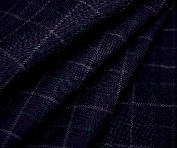 日本製上質ウール/ポリエステル混綾織り・ネイビー地にグレー&グリーンの小さめグラフチェック♪W巾150cm 防縮加工 布 生地 布地 服地 通販 ウール ウール生地 チェック柄 チェック 10cm単位 毛 ツイル