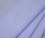T/C先染め超ミニミニギンガムチェック平織り生地オフホワイト&サックスブルーコットンポリエステル日本製布布地服地コットン生地綿通販シャツ地
