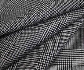中肉程度の日本製上質ウール ポリエステル混 ツイル 綾織り白&濃紺グレンチェック W巾150cm 防縮加工 布 生地 布地 服地 通販 チェック ウール生地 チェック柄 50cm以上10cm単位カット