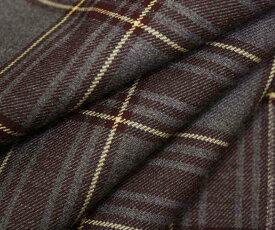タータンチェック グレーxエンジ・クリームライン ウール ポリエステル混ツイル(綾織り)生地 W巾150cm 布 布地 服地 通販 チェック ウール生地 チェック柄 50cm以上10cm単位カット