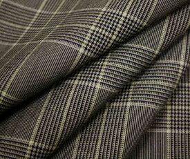 ウール ポリエステル混グレー&黒のグレンチェック クリーム色細ライン入り平織り生地。日本製 W巾150cm 防縮加工 布 布地 服地 通販 チェック ウール生地 チェック柄 50cm以上10cm単位カット