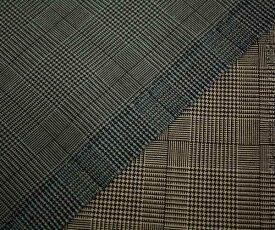 ウール ポリエステル混 グレンチェック調 平織り生地 全2色。日本製 サマーウール W巾150cm 防縮加工 布 布地 服地 通販 チェック ウール生地 チェック柄 50cm以上10cm単位カット