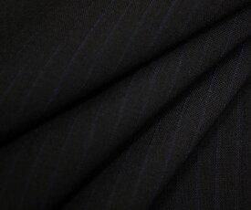 ちょっと薄手の日本製高級ウールほぼ100%の平織り 超ダークネイビー地にブルーのピンストライプ(縦縞) 先染め生地 W巾150cm 50cm以上10cm単位 布 生地 布地 服地 通販 ウール生地 毛 濃紺