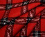 タータンチェック赤ツイル生地♪ウール100%先染め綾織りツイル生地布布地服地通販チェックウール生地チェック柄