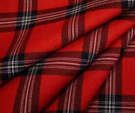 日本製上質ウール100% タータンチェック きれいな赤 ツイル(綾織り)生地 中厚程度の先染めチェック柄 W巾150cm 布 布地 服地 通販 チェック ウール生地 ツイル生地 レッド 50cm以上10cm単位カット