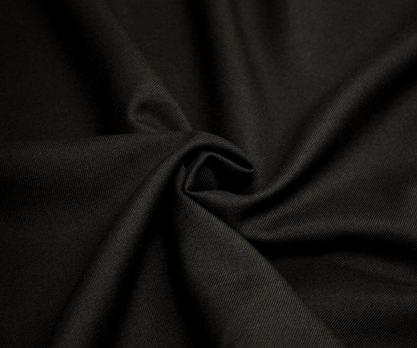 日本製上質ウール/ポリエステル混サージ・ブラック無地 ツイル/綾織り w巾150cm 防縮加工 布 生地 布地 服地 通販 ウール生地 50cm以上10cm単位 毛 黒