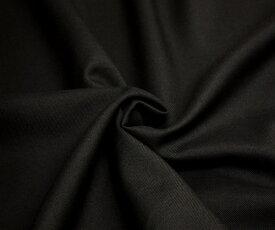 日本製上質ウール ポリエステル混サージ・ブラック無地 ツイル 綾織り w巾150cm 防縮加工 布 生地 布地 服地 通販 ウール生地 50cm以上10cm単位 毛 黒