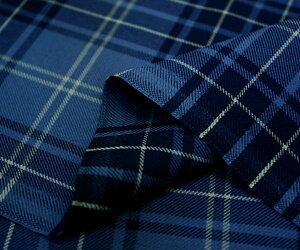 日本製ウール/ポリエステル混綾織りネイビー&ブルー系タータンチェック生地♪スカート,パンツ,ジャケットに♪W巾150cm布生地布地服地通販チェックウール生地10cm単位カットチェック柄ツイル毛