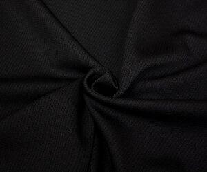 ウール ポリエステル(ウーリー糸使い)ピッケ調ニット ジャージー ブラック。やや厚手で縦横ストレッチ性のある日本製上質ニット生地。50cm以上10cm単位カット 布 布地 服地 通販 無地 黒