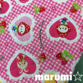 キルティング★ハートにイチゴちゃん★ピンク108cm巾×10cm単位