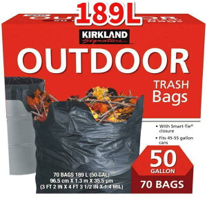 コストコ COSTCOカークランドシグネチャー ゴミ袋 189L x 70枚Kirkland Signature Outdoor Bags 189L x 70 sheet