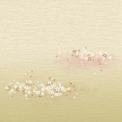 織物風ふすま紙『さくら/淡いグリーン・ピンク・ホワイトでふわりと描かれた柄(糸入り紙)』スタンダードな再湿・切手タイプ(95cm×185cm/2枚入)水で糊を戻して貼る襖紙SA-353