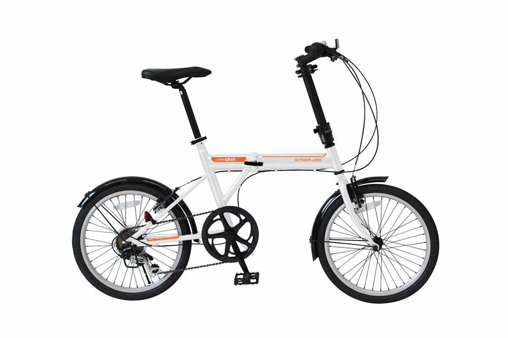 ACTIVEPLUS911 ノーパンク FDB206SF 20インチ折り畳み自転車 6段ギア かご無し パンクしないタイヤ 365 ミムゴ 折りたたみ 小型 持ち運び