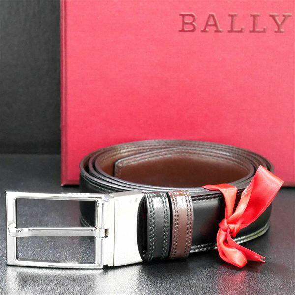 バリー BALLY リバーシブル ベルト 回転バックル BLACK CALF PLAIN 6193225 ブラック(ツヤ有)×ダークブラウン(ツヤ有) 黒 茶色 革 レザー[ ビジネス 人気 高級 ブランド メンズ 男性用 紳士 ギフト プレゼント バレンタイン 父の日 敬老の日 クリスマス ]