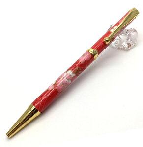 F-STYLE 美濃和紙Pen 梅と青海波 赤色 TM-1603 日本製 和柄 油性ボールペン MADE IN JAPAN 和風 おしゃれ (コ)