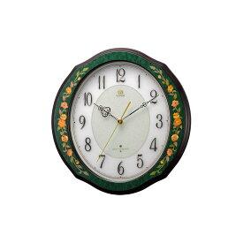 リズム時計工業 RHYTHM HIGH GRADE RHG-M89 電波 壁掛け時計 4MY748HG05 イタリア製象嵌細工 緑 アナログ