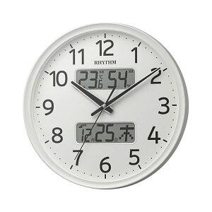 リズム時計工業 RHYTHM 電波 壁掛け時計 フィットウェーブリブA03 8FYA03SR03 白 ホワイト 温度計 湿度計 カレンダー アナログ デジタル [贈り物 周年 創業 新築祝い 引越し祝い 竣工 定年 退職 入