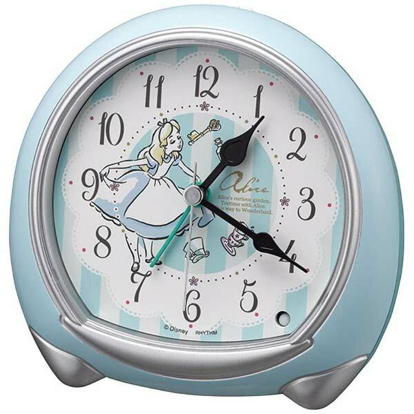 リズム時計工業 Disney ディズニー クオーツ目覚まし時計 ふしぎの国のアリス 8RE664MC04 スヌーズ ライト付 青 白 アナログ [ 御祝 御祝い お祝い 記念品 ギフト 内祝 お返し ラッピング無料 包装 熨斗 クリスマス Xmas ]