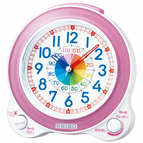 SEIKO セイコークロック クォーツ 知育 めざまし時計 KR887P ピンク アナログ 知育時計 [子供 幼児 時計の 勉強 学習 練習 見方 卒園 お祝い クリスマス]
