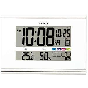セイコー クロック 電波 壁掛け時計 SQ445W 掛け置き兼用 快適環境NAVI 温度計 カレンダー 湿度計 デジタル SEIKO [贈り物 周年 創業 餞別 景品 新築祝い 引越し祝い 竣工 退職 入学 卒業 還暦 古希