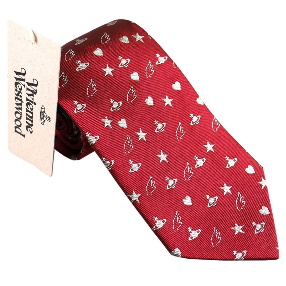 あす楽対応 ヴィヴィアン ウエストウッド ネクタイ AW2017モデル レッド系 小紋 ロゴ 赤 8.5cm 10049-CS H232-RED Vivienne Westwood ヴィヴィアン・ウエストウッド ビビアン 人気 ブランド おしゃれ おすすめ [成人式 就職祝い 父の日 バレンタイン クリスマス]
