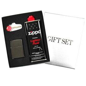 ZIPPO ジッポー ギフトBOXセット レギュラーサイズ チタンコーティング ブラックアイス set-zippo150 黒 [ラッピング無料 ギフト プレゼント お祝い 父の日 バレンタイン クリスマス]
