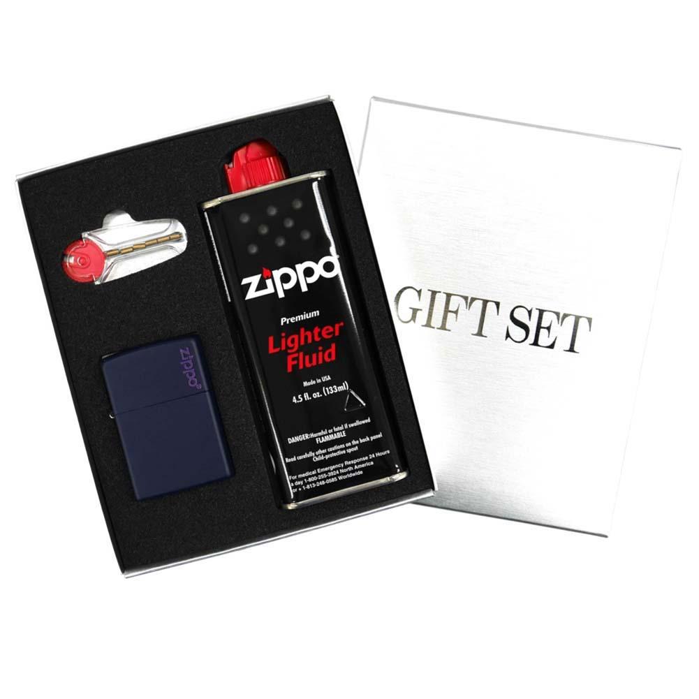 ZIPPO ジッポー ギフトBOXセット レギュラーサイズ マットカラーシリーズ ネイビーマット set-zippo239zl つや消し ブルー系 紺色 [ラッピング無料 ギフト プレゼント お祝い 父の日 バレンタイン クリスマス]