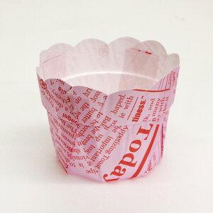 フラワーポット 英字ピンク Φ55 20入 / マフィンカップ マフィン 焼成用カップ バレンタイン