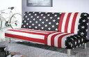 [送料無料!]ソファベッド・トリプルソファ・シングルベッド・3人掛け・星条旗・アメリカン・ファブリック