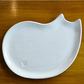 【笠間焼】Toshiko Brand ねこ姿皿 陶器 ギフト 贈り物 プレゼント シンプル 白 猫 ネコ かわいい
