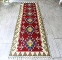 トルコ手織りカイセリキリム・ロングランナー287×80cm6つのベレケット/レッド