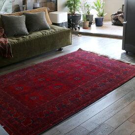 アフガニスタン・細かな織りの赤いカーペット203×125cmビリジック/ウール100%手織り