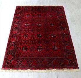 ビロードのような細かな織り・レッドカーペット ビリジック178×127cmウール100%手織りラグ