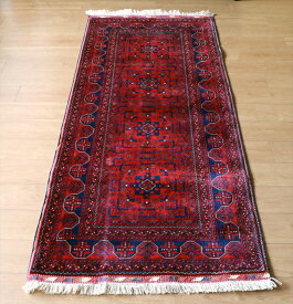 ビロードのような細かな織り・レッドカーペット ビリジック202×85cmウール100%手織りラグ