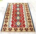 トルコ手織りキリム・ウシャクセッヂャーデ赤と紺/連なるひし形モチーフ