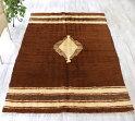 オールドキリム毛布のような柔らかな織り地Battaniye190x131cmナチュラルカラーひし形のメダリオン