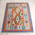 カシュカイ族の手織りキリム/ウール100%・シラーズ91×65cm玄関マットサイズ