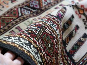グチャンキリム・細かな織りのジジムセッヂャーデ182×103cmベージュ孔雀