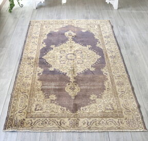 エリアラグ部族絨毯カイセリ/オールドカーペット・セッヂャーデ205×120cmパステルカラー・パープル&アイボリー